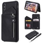 PU Leather Zipper Kickstand Leather Protection Casing for iPhone XS Max 6.5 inch – Black