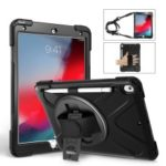 For iPad Air 10.5 inch (2019) [X-Shape] PC + TPU Combo 360 Degree Swivel Kickstand Case with Hand Strap and Shoulder Strap – Black