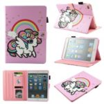 Pattern Printing PU Leather Card Holder Tablet Stand Cover for iPad Air – Rainbow Unicorn