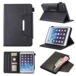Metal Buckle Business Wallet Stand Leather Smart Cover Shell with Pen Slot for iPad mini (2019) 7.9 inch- Black