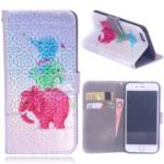 Laser Carving Pattern Printing Wallet Leather Case with Strap for iPhone 8/7 – Elephant