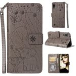 Imprinted Elephant Pattern Leather Wallet Protection Case for Samsung Galaxy M10 – Grey