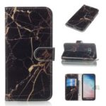 Pattern Printing Leather Wallet Case for Samsung Galaxy S10e – Black Marble