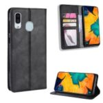 Auto-absorbed Vintage Leather Wallet Case Cover for Samsung Galaxy A40 – Black