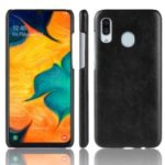 Litchi Texture PU Leather Coated PC Phone Case for Samsung Galaxy A40 – Black