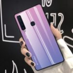 Gradient Color Glass + PC + TPU Hybrid Cover for Samsung Galaxy A9 (2018)/A9 Star Pro/A9s – Pink / Purple