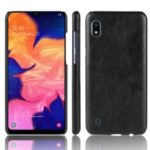 Litchi Texture PU Leather Coated PC Case for Samsung Galaxy A10 – Black
