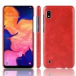 Litchi Texture PU Leather Coated PC Case for Samsung Galaxy A10 – Red