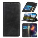 Auto-absorbed Split Leather Wallet Phone Casing for Samsung Galaxy M10 – Black