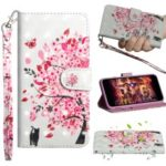 Pattern Printing PU Leather Protection Phone Cover with Wallet Stand for Samsung Galaxy M10 – Cat and Flowered Tree