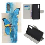 Pattern Printing Cross Texture Leather Wallet Case for Samsung Galaxy A70 – Blue Butterfly