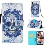 Pattern Printing Wallet Stand Leather Cover for Samsung Galaxy A20/A30 – Blue Skull and Flowers