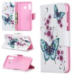 For Samsung Galaxy M30 Pattern Printing Leather Stand Wallet Flip Case – Butterfly and Flower