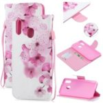 Pattern Printing Leather Wallet Case for Samsung Galaxy M20 – Pretty Flower