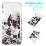 Pattern Printing IMD TPU Phone Case for Samsung Galaxy A40 – Skull and Flower
