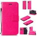 Imprinted Elephant PU Leather Magnetic Wallet Phone Cover for Samsung Galaxy M10 – Rose