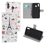 Pattern Printing Leather Wallet Stand Case for Samsung Galaxy A40 – Eiffel Tower