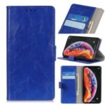 Crazy Horse Leather Wallet Stand Case for Samsung Galaxy A10 – Blue