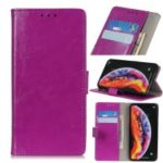 Crazy Horse Leather Wallet Stand Case for Samsung Galaxy A10 – Purple