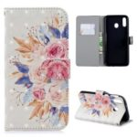 For Samsung Galaxy M20 [Light Spot Decor] Pattern Printing Wallet Leather Cover – Vivid Flowers
