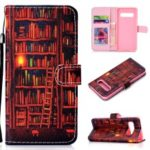 Patterned Leather Wallet Protection Cover for Samsung Galaxy S10 – Bookshelf