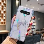 Laser Carving Marble Texture IMD TPU Mobile Case for Samsung Galaxy S10 Plus – White