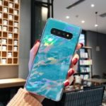Laser Carving Marble Texture IMD TPU Mobile Case for Samsung Galaxy S10 Plus – Blue