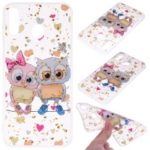 Glitter Sequins Inlaid Patterned TPU Phone Cover for Samsung Galaxy M30 – Owls