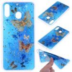 Glitter Sequins Inlaid Patterned TPU Phone Cover for Samsung Galaxy M30 – Butterflies