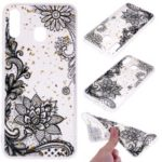 Glitter Sequins Inlaid Patterned TPU Phone Cover for Samsung Galaxy M30 – Black Lace
