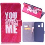 Laser Carving Pattern Printing Wallet Leather Case with Strap for Samsung Galaxy A50 – You Can Not Destroy Me