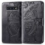 Imprint Butterfly Flower Leather Wallet Stand Phone Cover for Samsung Galaxy S10 – Black