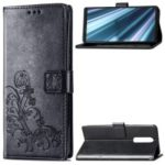 HAT PRINCE Imprinted Clover Leather Stand Wallet Cover for Sony Xperia 1 – Black