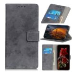 Vintage Style Wallet PU Leather Stand Protective Case for LG Q60 – Grey
