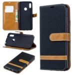 Two-tone Jean Cloth PU Leather Mobile Case for Huawei Y6 (2019)/Y6 Pro (2019)/Y6 Prime (2019) – Black