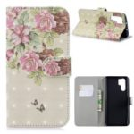 Light Spot Decor Patterned Leather Stand Wallet Case for Huawei P30 Pro – Fresh Flowers