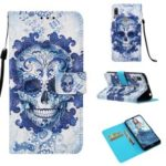 Pattern Printing Light Spot Decor Stand Leather Wallet Cover for Huawei Y6 (2019) – Flowered Skull