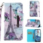 Pattern Printing Cross Texture Leather Wallet Case for Huawei Y6 (2019) – Eiffel Tower