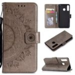 Imprint Flower Leather Wallet Case for Huawei P30 Lite – Grey