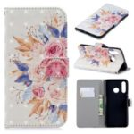 For Huawei P30 Lite / nova 4e Light Spot Decor Pattern Printing Wallet Leather Cover – Vivid Flowers