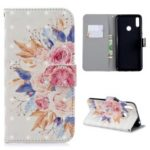 For Huawei Y7 (2019) [Light Spot Decor] Pattern Printing Mobile Leather Cover – Vivid Flowers