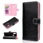 Glitter Powder Magnetic Stand Wallet PU Leather Case for Huawei Honor 10 Lite – Black