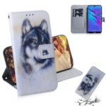 Pattern Printing PU Leather Folio Flip Case Cover for Huawei Y6 (2019) – Black and White Wolf