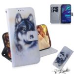Pattern Printing PU Leather Mobile Phone Case with Wallet for Huawei Y7 Prime (2019) – Black and White Wolf
