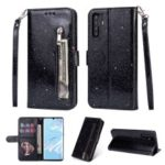 Glitter Powder Zippered Stand Leather Wallet Case with Strap for Huawei P30 Pro – Black
