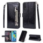Glitter Powder Zippered Stand Leather Wallet Case with Strap for Huawei P30 – Black