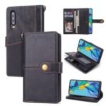 Retro Metal Buckle Wallet Stand Leather Case with Multi Card Slots for Huawei P30 – Black