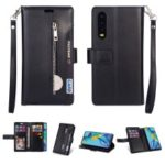 Multi-function Leather Wallet Case with Stand for Huawei P30 – Black