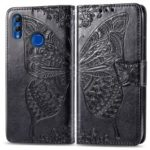 Imprint Butterfly Flower Leather Wallet Stand Phone Cover for Huawei P Smart (2019) / 10 Lite / Nova Lite 3 (Japan) – Black