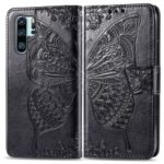 Imprint Butterfly Flower Leather Wallet Stand Phone Cover for Huawei P30 Pro – Black
